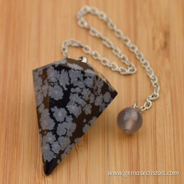 Pêndulo Obsidiana Floco de Neve