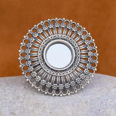 Anel de prata com espelho