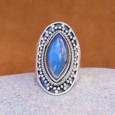 Anel de prata e Labradorite - AGAN237