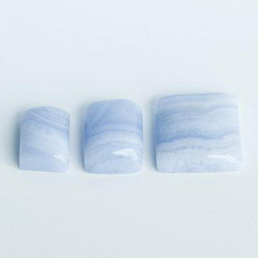 Cabochões de Ágata Azul Rendada