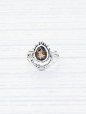 Anel de prata feminino quartzo fumado